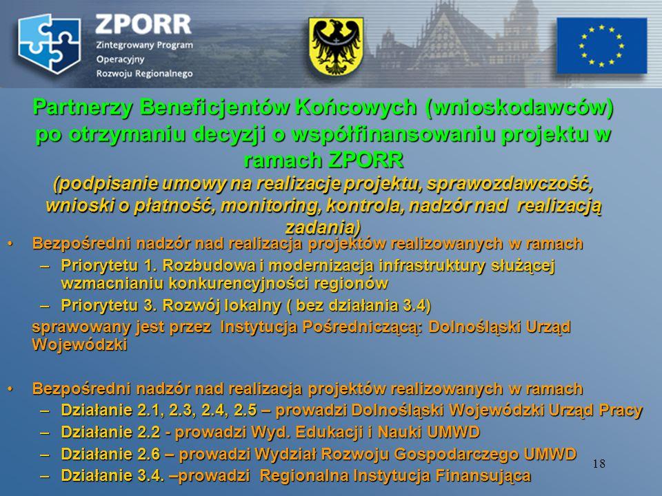 17 Ocena merytoryczna projektów złożonych do Priorytetu 2 i działania 3.4 ZPORR Komisja Oceniająca Projekty Umiejscowione w instytucjach pełniących ro
