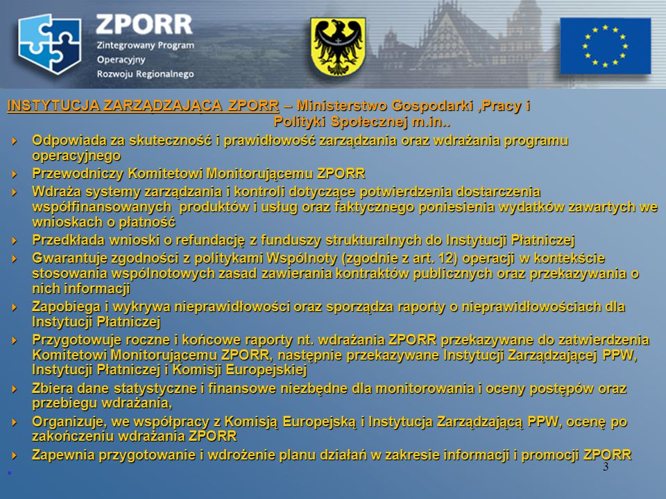 2 Instytucje zaangażowane w realizację ZPORR Instytucja Zarządzająca ZPORR - Ministerstwo Gospodarki, Pracy Instytucja Zarządzająca ZPORR - Ministerst