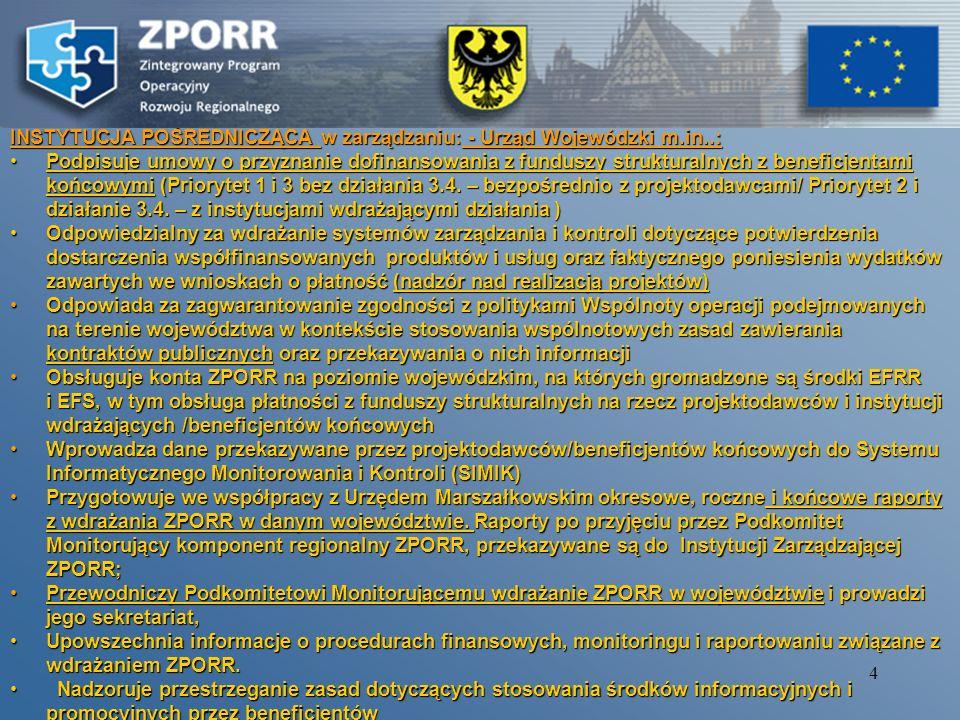 14 ścieżka procesu informacja o odrzuceniu wniosku powiadamianie beneficjenta o pozytywnej weryfikacji wniosku zwrot wniosku celem uzupełnienia w określonym terminie braków formalnych Organizacja naboru i wyboru projektów realizowanych w ramach Priorytetu 1 i 3 ZPORR (bez działania 3.4)