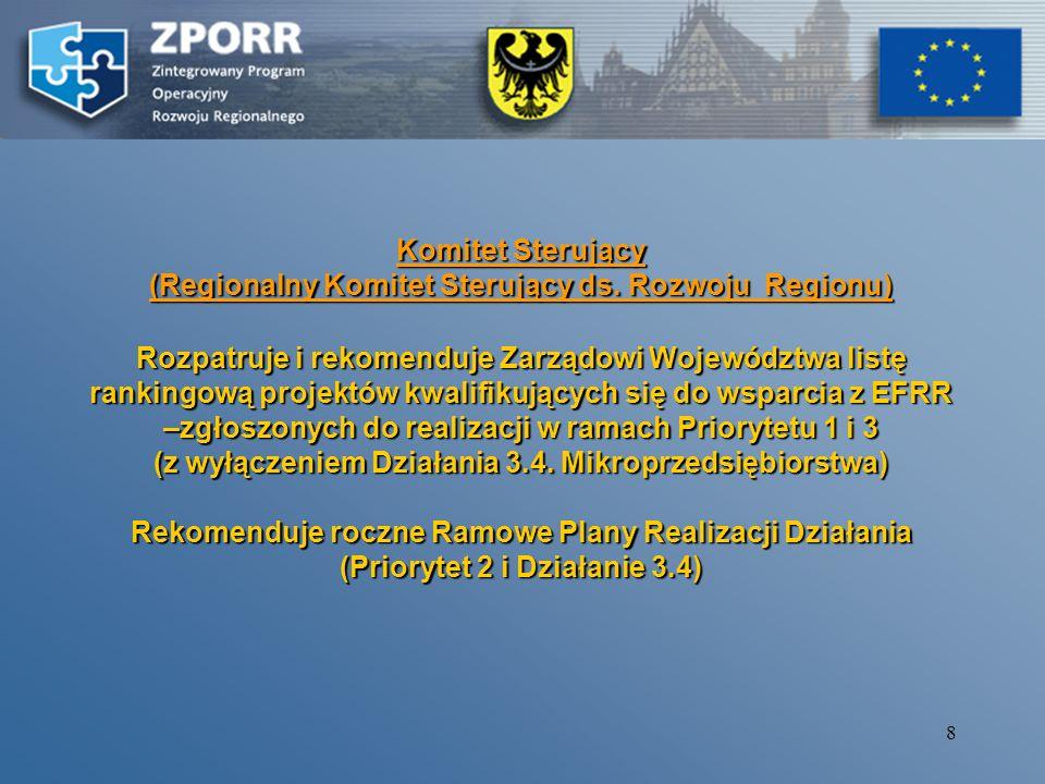 18 Partnerzy Beneficjentów Końcowych (wnioskodawców) po otrzymaniu decyzji o współfinansowaniu projektu w ramach ZPORR (podpisanie umowy na realizacje projektu, sprawozdawczość, wnioski o płatność, monitoring, kontrola, nadzór nad realizacją zadania) Bezpośredni nadzór nad realizacja projektów realizowanych w ramachBezpośredni nadzór nad realizacja projektów realizowanych w ramach –Priorytetu 1.