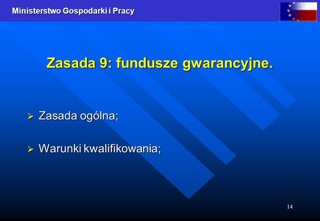 Ministerstwo Gospodarki i Pracy 14 Zasada 9: fundusze gwarancyjne. Zasada ogólna; Zasada ogólna; Warunki kwalifikowania; Warunki kwalifikowania;