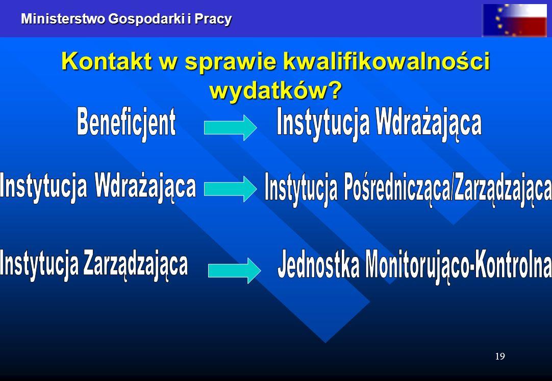 Ministerstwo Gospodarki i Pracy 19 Kontakt w sprawie kwalifikowalności wydatków?