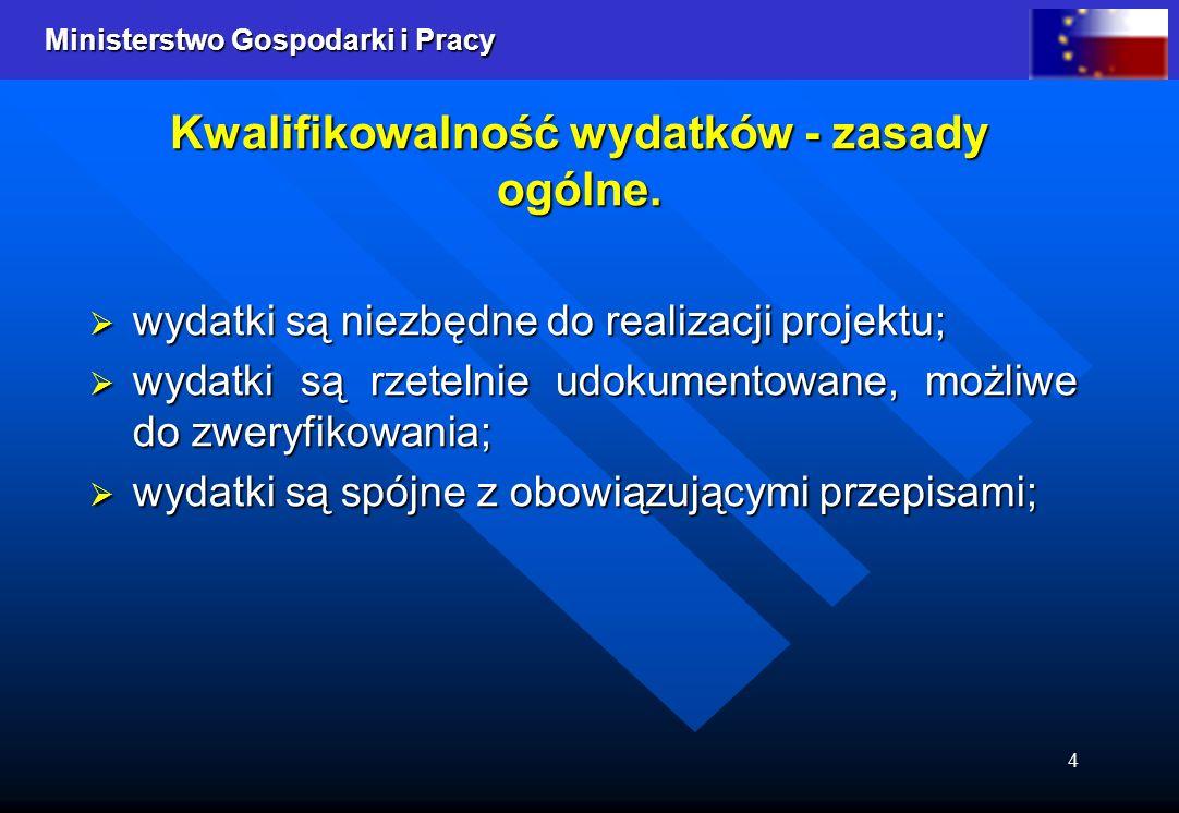 Ministerstwo Gospodarki i Pracy 4 Kwalifikowalność wydatków - zasady ogólne.