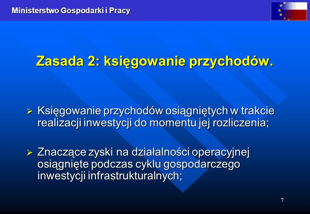 Ministerstwo Gospodarki i Pracy 7 Zasada 2: księgowanie przychodów. Księgowanie przychodów osiągniętych w trakcie realizacji inwestycji do momentu jej
