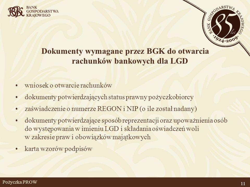 Pożyczka PROW Dokumenty wymagane przez BGK do otwarcia rachunków bankowych dla LGD wniosek o otwarcie rachunków dokumenty potwierdzających status praw
