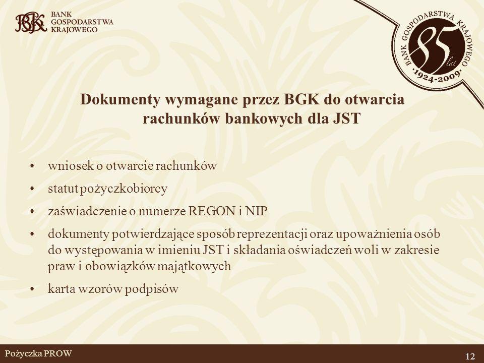 Pożyczka PROW Dokumenty wymagane przez BGK do otwarcia rachunków bankowych dla JST wniosek o otwarcie rachunków statut pożyczkobiorcy zaświadczenie o