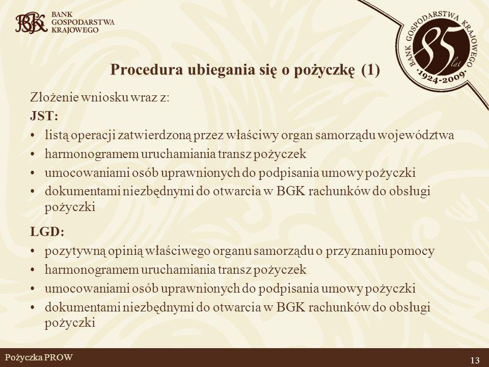 Pożyczka PROW Procedura ubiegania się o pożyczkę (1) Złożenie wniosku wraz z: JST: listą operacji zatwierdzoną przez właściwy organ samorządu wojewódz