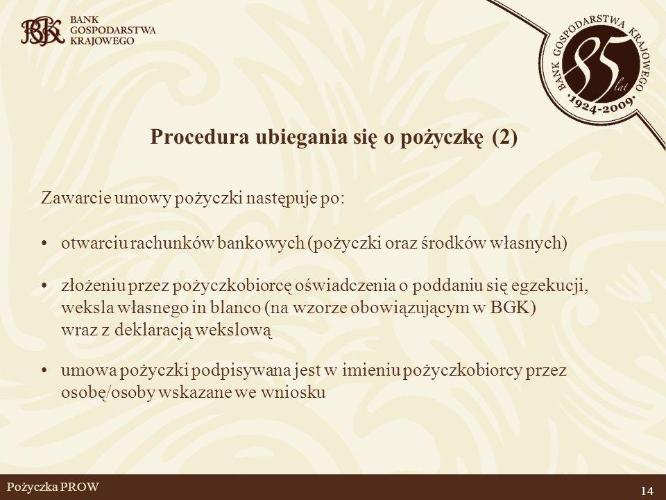 Pożyczka PROW Procedura ubiegania się o pożyczkę (2) Zawarcie umowy pożyczki następuje po: otwarciu rachunków bankowych (pożyczki oraz środków własnyc