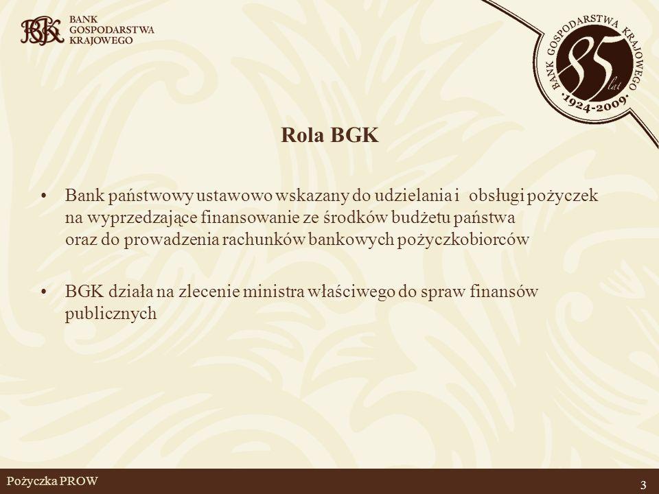 Pożyczka PROW Rola BGK Bank państwowy ustawowo wskazany do udzielania i obsługi pożyczek na wyprzedzające finansowanie ze środków budżetu państwa oraz