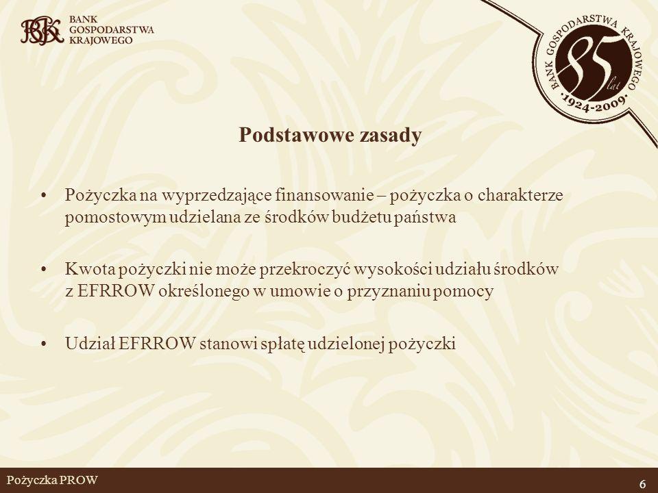 Pożyczka PROW Podstawowe zasady Pożyczka na wyprzedzające finansowanie – pożyczka o charakterze pomostowym udzielana ze środków budżetu państwa Kwota