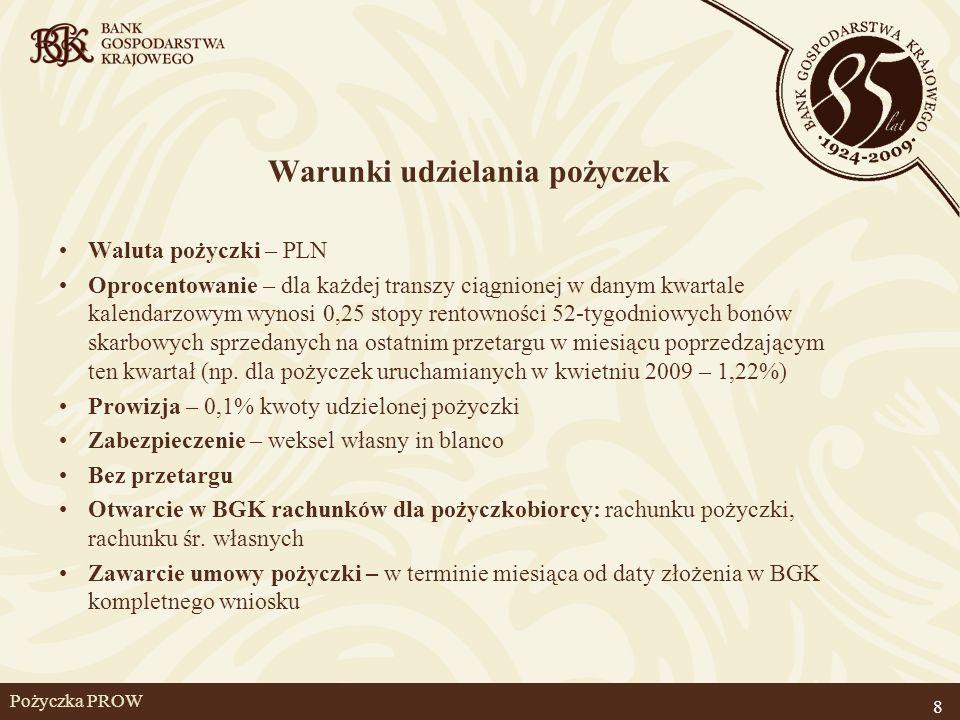 Pożyczka PROW Warunki udzielania pożyczek Waluta pożyczki – PLN Oprocentowanie – dla każdej transzy ciągnionej w danym kwartale kalendarzowym wynosi 0
