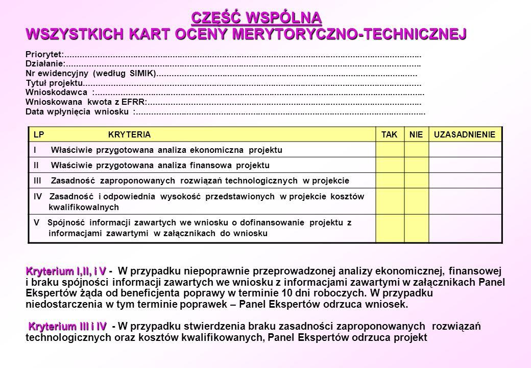 CZĘŚĆ WSPÓLNA WSZYSTKICH KART OCENY MERYTORYCZNO-TECHNICZNEJ Kryterium I,II, i V Kryterium III i IV CZĘŚĆ WSPÓLNA WSZYSTKICH KART OCENY MERYTORYCZNO-T
