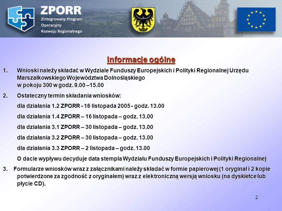 2 Informacje ogólne 1.Wnioski należy składać w Wydziale Funduszy Europejskich i Polityki Regionalnej Urzędu Marszałkowskiego Województwa Dolnośląskiego w pokoju 300 w godz.