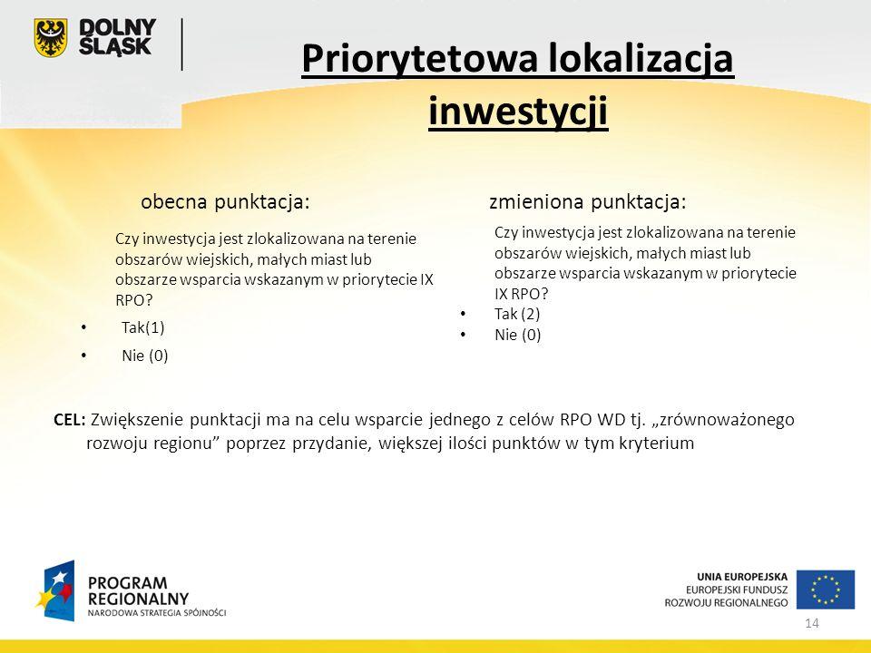 14 obecna punktacja:zmieniona punktacja: CEL: Zwiększenie punktacji ma na celu wsparcie jednego z celów RPO WD tj.