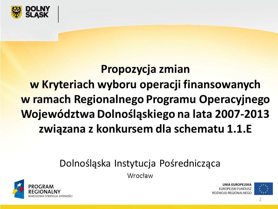 2 Propozycja zmian w Kryteriach wyboru operacji finansowanych w ramach Regionalnego Programu Operacyjnego Województwa Dolnośląskiego na lata 2007-2013 związana z konkursem dla schematu 1.1.E Dolnośląska Instytucja Pośrednicząca Wrocław