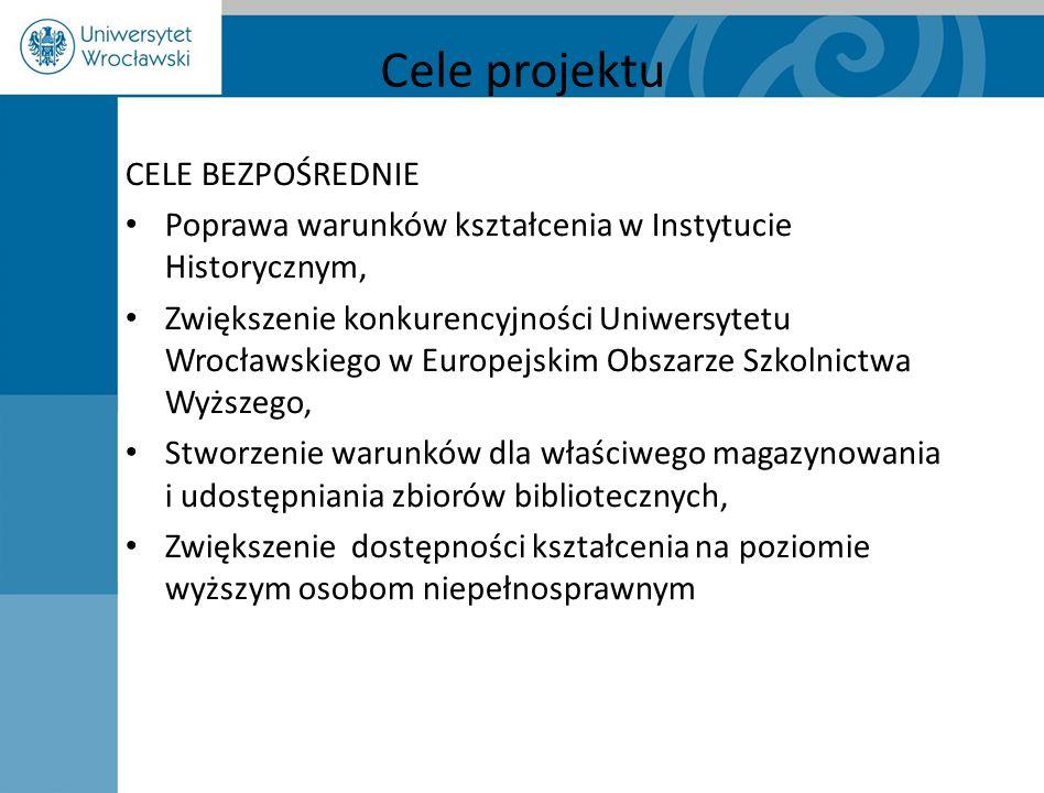 Cele projektu CELE BEZPOŚREDNIE Poprawa warunków kształcenia w Instytucie Historycznym, Zwiększenie konkurencyjności Uniwersytetu Wrocławskiego w Euro