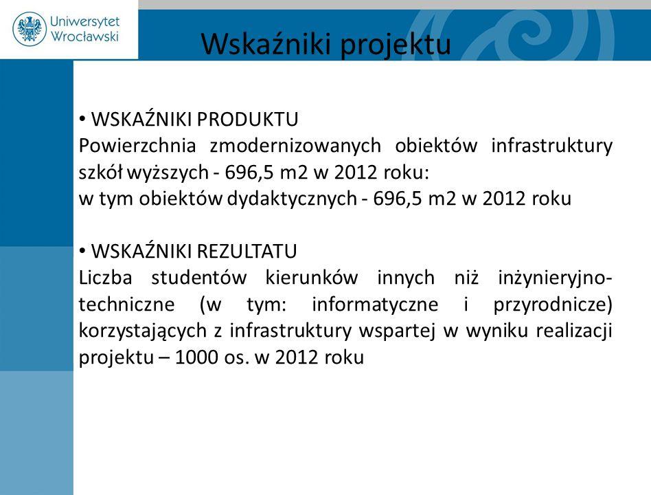 Wskaźniki projektu WSKAŹNIKI PRODUKTU Powierzchnia zmodernizowanych obiektów infrastruktury szkół wyższych - 696,5 m2 w 2012 roku: w tym obiektów dyda