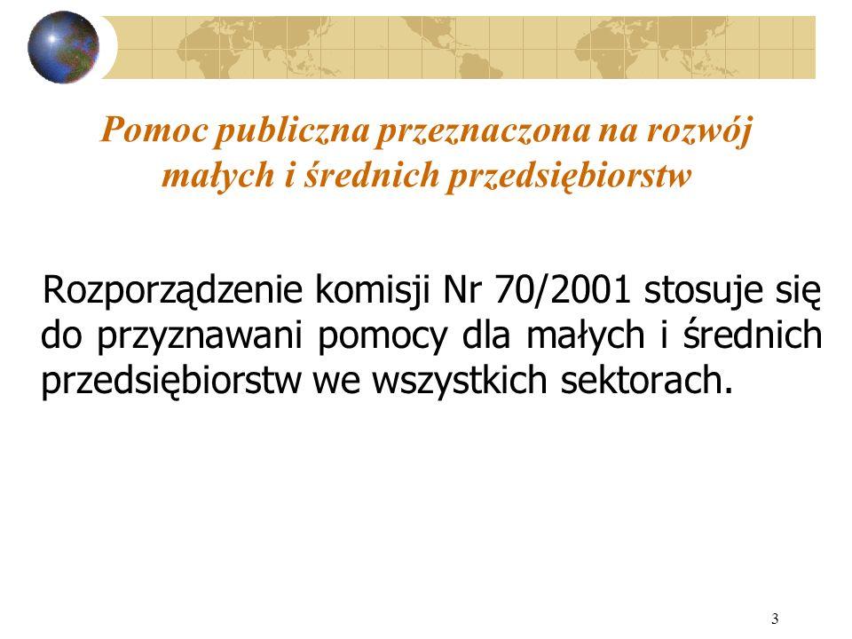 4 Pomoc publiczna przeznaczona na rozwój małych i średnich przedsiębiorstw Rozporządzenie Komisji Nr 70/2001 nie stosuje się do: działalności związanej z produkcją, przetwarzaniem i wprowadzaniem do obrotu produktów wymienionych w Załączniku 1 do TWE, pomocy na działalność związaną z eksportem, pomocy uwarunkowanej użyciem towarów produkcji krajowej na niekorzyść towarów przywożonych.
