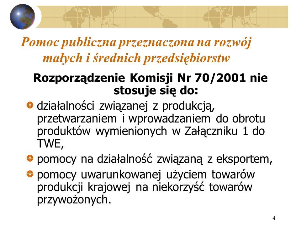 4 Pomoc publiczna przeznaczona na rozwój małych i średnich przedsiębiorstw Rozporządzenie Komisji Nr 70/2001 nie stosuje się do: działalności związane