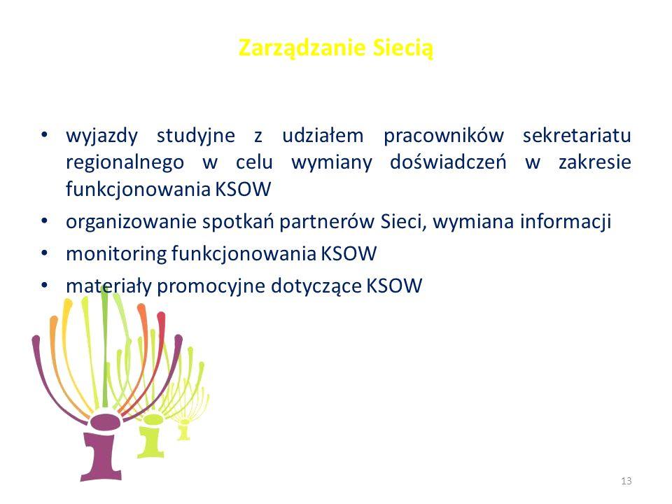 Zarządzanie Siecią wyjazdy studyjne z udziałem pracowników sekretariatu regionalnego w celu wymiany doświadczeń w zakresie funkcjonowania KSOW organizowanie spotkań partnerów Sieci, wymiana informacji monitoring funkcjonowania KSOW materiały promocyjne dotyczące KSOW 13