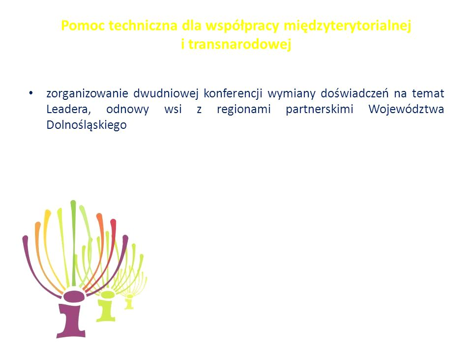 Pomoc techniczna dla współpracy międzyterytorialnej i transnarodowej zorganizowanie dwudniowej konferencji wymiany doświadczeń na temat Leadera, odnowy wsi z regionami partnerskimi Województwa Dolnośląskiego