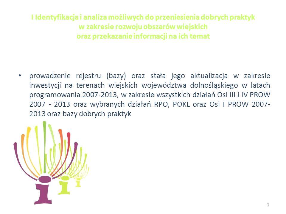 I Identyfikacja i analiza możliwych do przeniesienia dobrych praktyk w zakresie rozwoju obszarów wiejskich oraz przekazanie informacji na ich temat prowadzenie rejestru (bazy) oraz stała jego aktualizacja w zakresie inwestycji na terenach wiejskich województwa dolnośląskiego w latach programowania 2007-2013, w zakresie wszystkich działań Osi III i IV PROW 2007 - 2013 oraz wybranych działań RPO, POKL oraz Osi I PROW 2007- 2013 oraz bazy dobrych praktyk 4