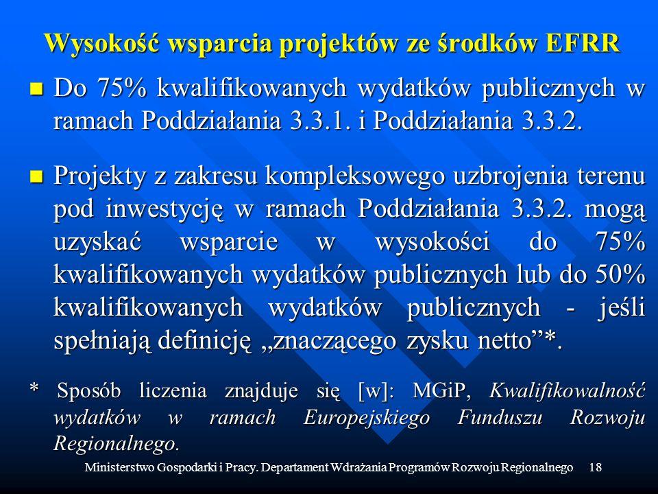Ministerstwo Gospodarki i Pracy. Departament Wdrażania Programów Rozwoju Regionalnego18 Wysokość wsparcia projektów ze środków EFRR n Do 75% kwalifiko
