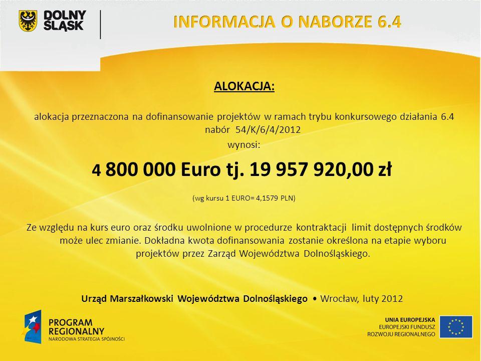 ALOKACJA: alokacja przeznaczona na dofinansowanie projektów w ramach trybu konkursowego działania 6.4 nabór 54/K/6/4/2012 wynosi: 4 800 000 Euro tj.