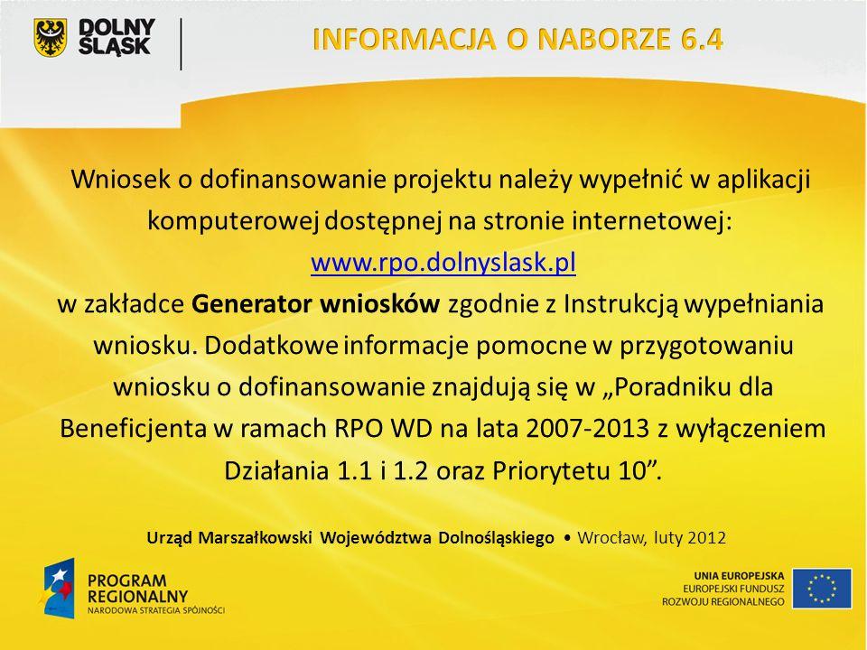Wniosek o dofinansowanie projektu należy wypełnić w aplikacji komputerowej dostępnej na stronie internetowej: www.rpo.dolnyslask.pl w zakładce Generator wniosków zgodnie z Instrukcją wypełniania wniosku.