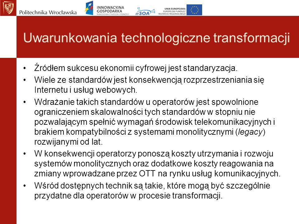 Uwarunkowania technologiczne transformacji Źródłem sukcesu ekonomii cyfrowej jest standaryzacja. Wiele ze standardów jest konsekwencją rozprzestrzenia