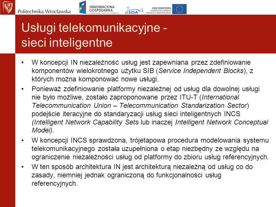 Usługi telekomunikacyjne - sieci inteligentne W koncepcji IN niezależność usług jest zapewniana przez zdefiniowanie komponentów wielokrotnego użytku S
