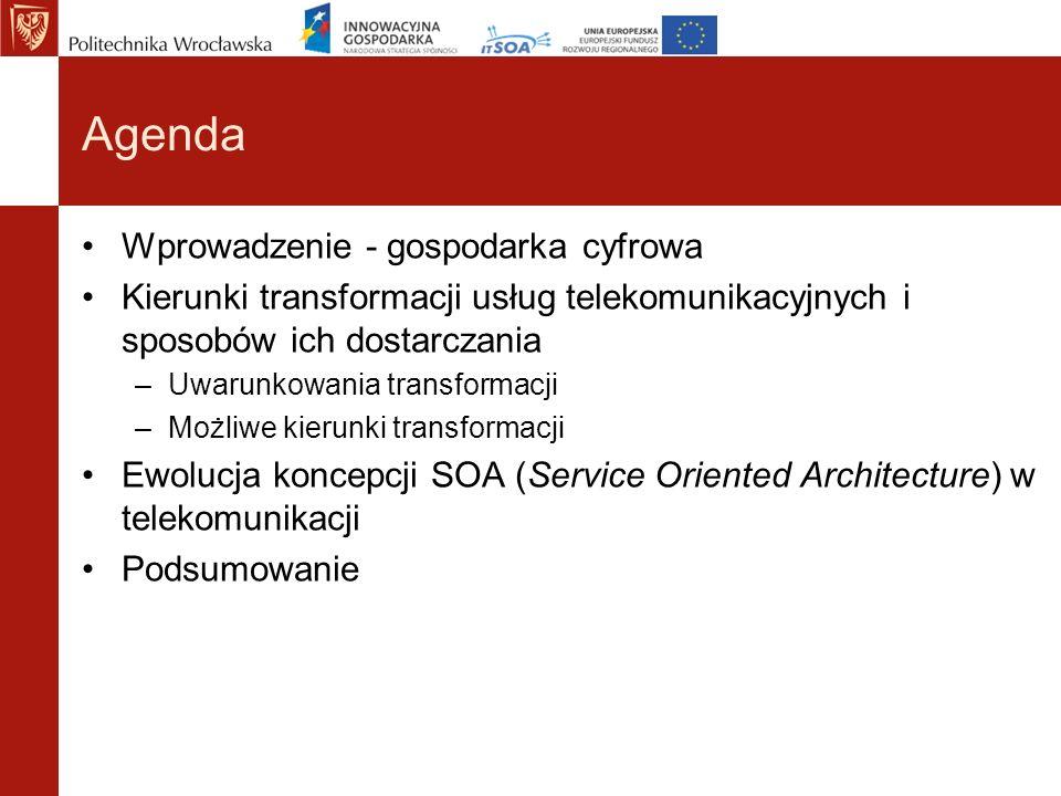 Agenda Wprowadzenie - gospodarka cyfrowa Kierunki transformacji usług telekomunikacyjnych i sposobów ich dostarczania –Uwarunkowania transformacji –Mo