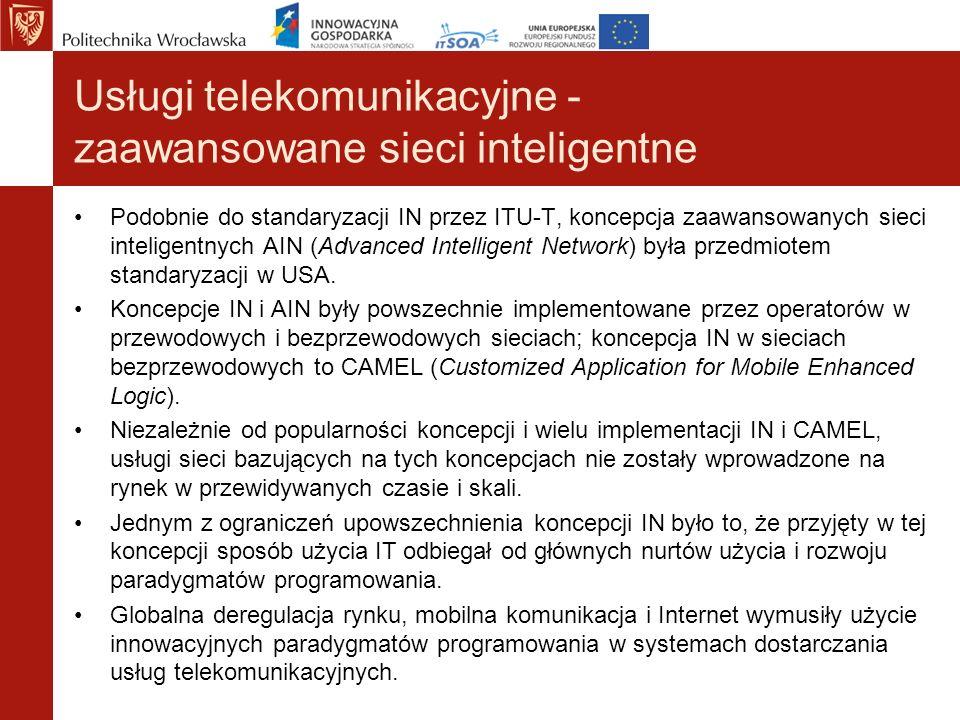 Usługi telekomunikacyjne - zaawansowane sieci inteligentne Podobnie do standaryzacji IN przez ITU-T, koncepcja zaawansowanych sieci inteligentnych AIN