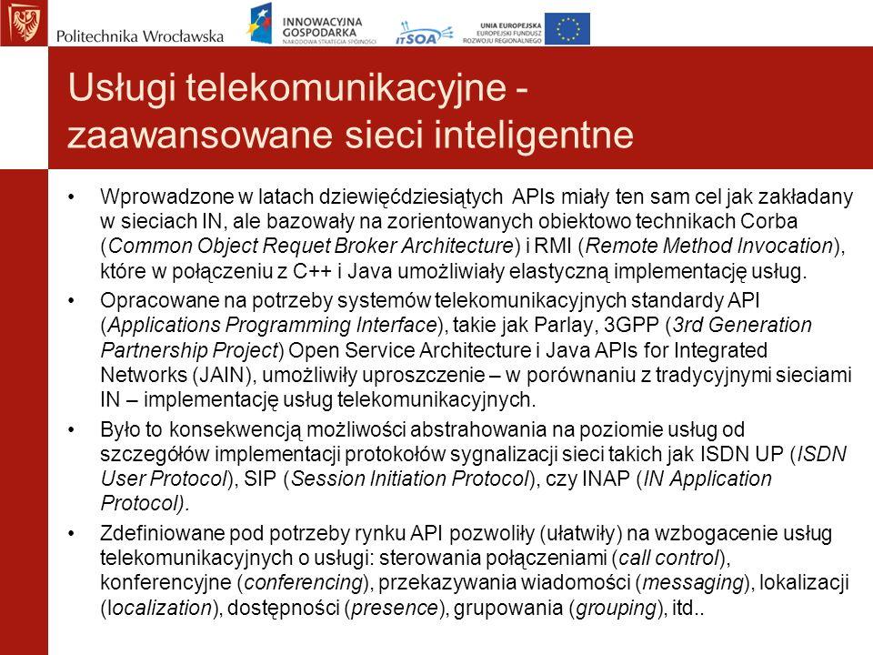Usługi telekomunikacyjne - zaawansowane sieci inteligentne Wprowadzone w latach dziewięćdziesiątych APIs miały ten sam cel jak zakładany w sieciach IN