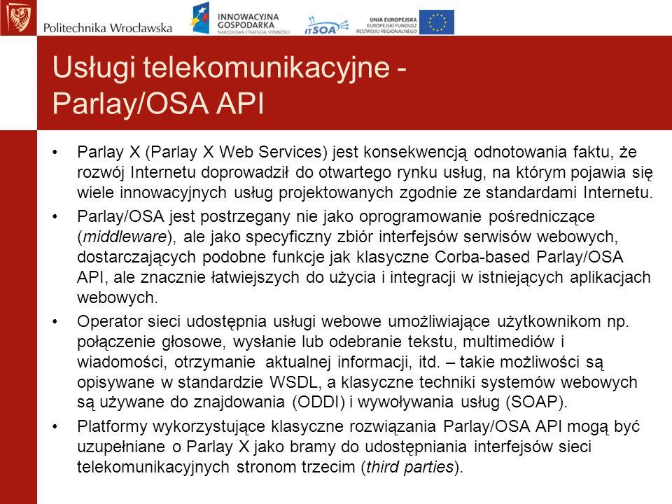 Usługi telekomunikacyjne - Parlay/OSA API Parlay X (Parlay X Web Services) jest konsekwencją odnotowania faktu, że rozwój Internetu doprowadził do otw