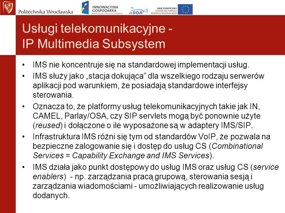 Usługi telekomunikacyjne - IP Multimedia Subsystem IMS nie koncentruje się na standardowej implementacji usług. IMS służy jako stacja dokująca dla wsz