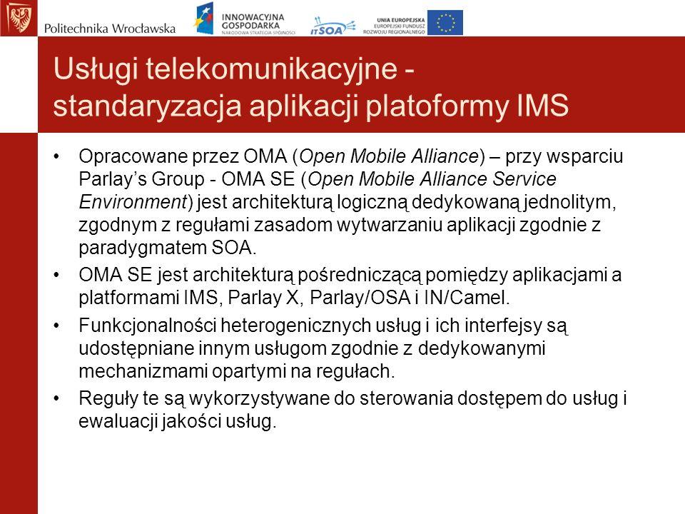 Usługi telekomunikacyjne - standaryzacja aplikacji platoformy IMS Opracowane przez OMA (Open Mobile Alliance) – przy wsparciu Parlays Group - OMA SE (