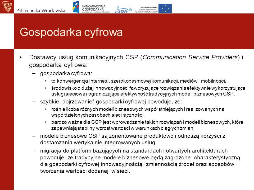 Gospodarka cyfrowa Dostawcy usług komunikacyjnych CSP (Communication Service Providers) i gospodarka cyfrowa: –gospodarka cyfrowa: to konwergencja Int