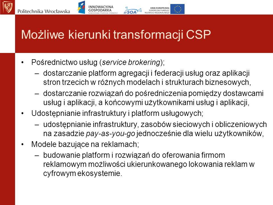 Możliwe kierunki transformacji CSP Pośrednictwo usług (service brokering); –dostarczanie platform agregacji i federacji usług oraz aplikacji stron trz