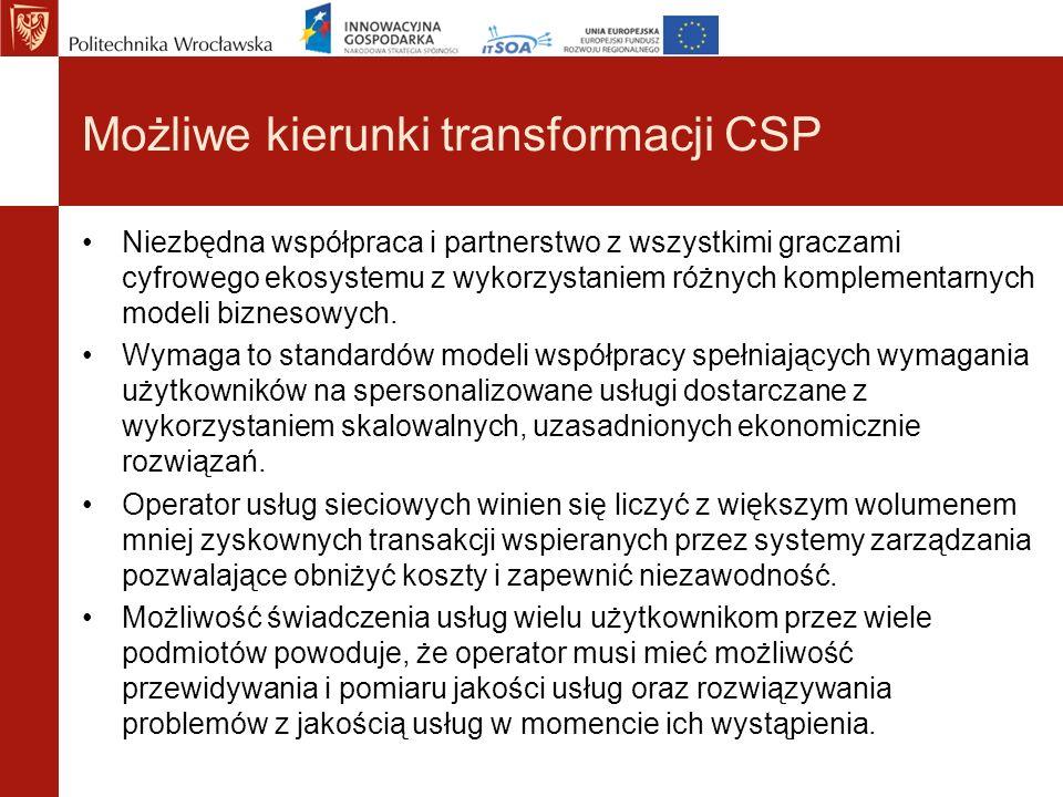 Możliwe kierunki transformacji CSP Niezbędna współpraca i partnerstwo z wszystkimi graczami cyfrowego ekosystemu z wykorzystaniem różnych komplementar