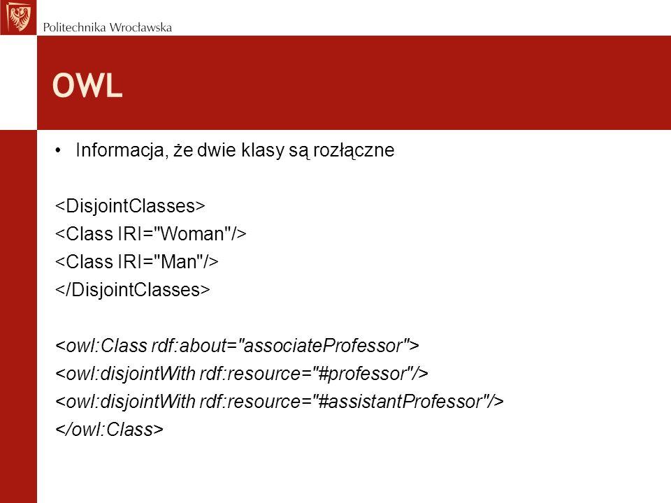 OWL Informacja, że dwie klasy są rozłączne