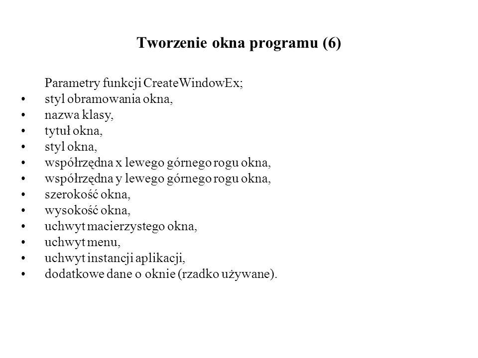 Tworzenie okna programu (6) Parametry funkcji CreateWindowEx; styl obramowania okna, nazwa klasy, tytuł okna, styl okna, współrzędna x lewego górnego rogu okna, współrzędna y lewego górnego rogu okna, szerokość okna, wysokość okna, uchwyt macierzystego okna, uchwyt menu, uchwyt instancji aplikacji, dodatkowe dane o oknie (rzadko używane).
