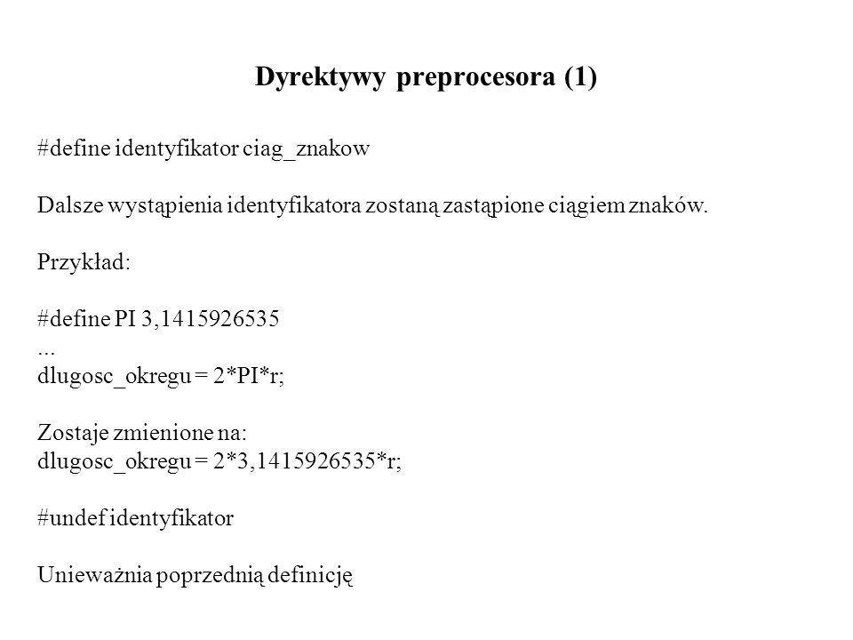 Dyrektywy preprocesora (1) #define identyfikator ciag_znakow Dalsze wystąpienia identyfikatora zostaną zastąpione ciągiem znaków.