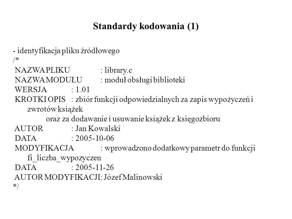 Standardy kodowania (1) - identyfikacja pliku źródłowego /* NAZWA PLIKU : library.c NAZWA MODUŁU: moduł obsługi biblioteki WERSJA : 1.01 KROTKI OPIS : zbiór funkcji odpowiedzialnych za zapis wypożyczeń i zwrotów książek oraz za dodawanie i usuwanie książek z księgozbioru AUTOR : Jan Kowalski DATA : 2005-10-06 MODYFIKACJA: wprowadzono dodatkowy parametr do funkcji fi_liczba_wypozyczen DATA: 2005-11-26 AUTOR MODYFIKACJI: Józef Malinowski */