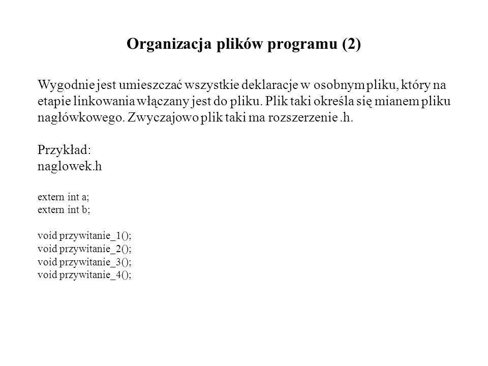Organizacja plików programu (2) Wygodnie jest umieszczać wszystkie deklaracje w osobnym pliku, który na etapie linkowania włączany jest do pliku.