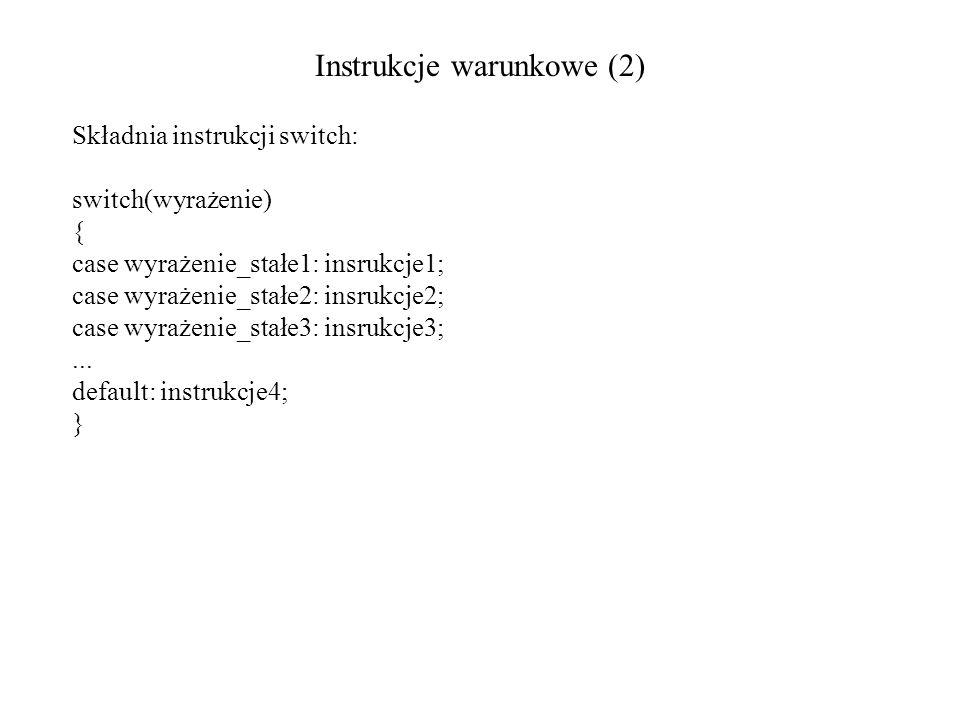 Instrukcje warunkowe (2) Składnia instrukcji switch: switch(wyrażenie) { case wyrażenie_stałe1: insrukcje1; case wyrażenie_stałe2: insrukcje2; case wy