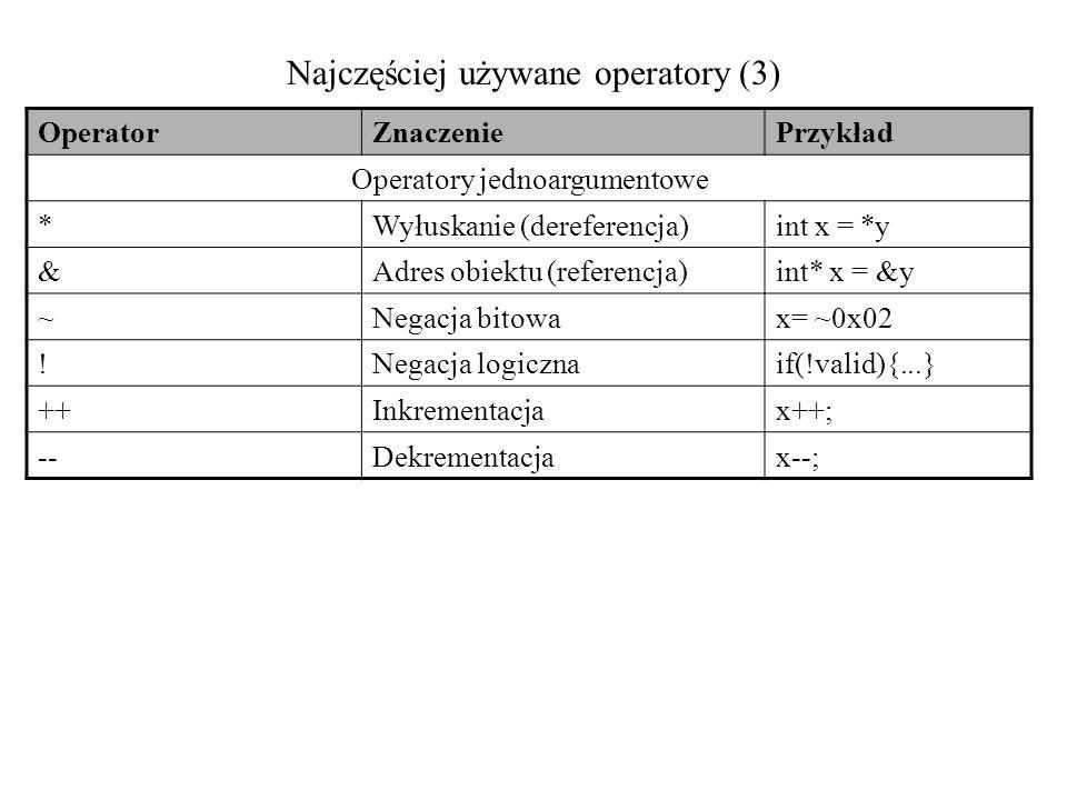 Najczęściej używane operatory (3) OperatorZnaczeniePrzykład Operatory jednoargumentowe *Wyłuskanie (dereferencja)int x = *y &Adres obiektu (referencja
