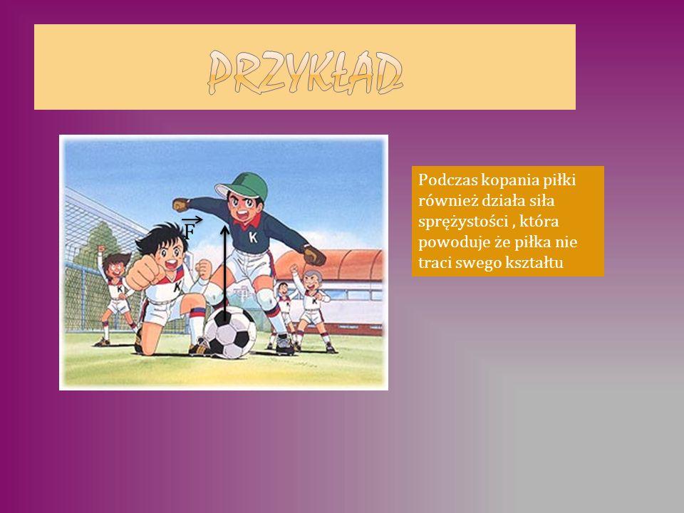 Podczas kopania piłki również działa siła sprężystości, która powoduje że piłka nie traci swego kształtu F