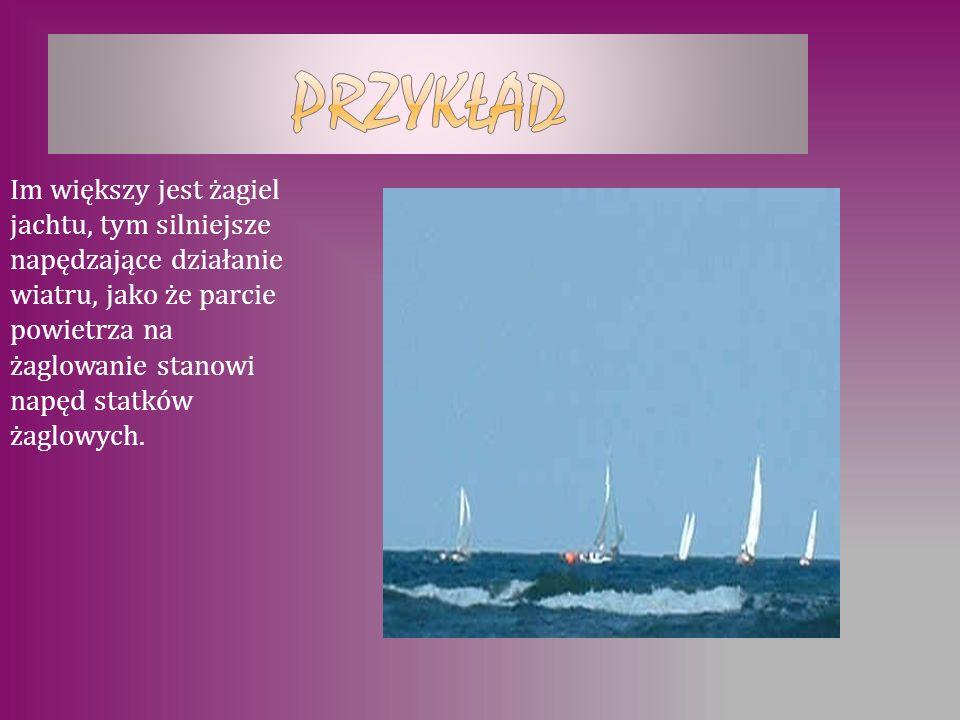 Im większy jest żagiel jachtu, tym silniejsze napędzające działanie wiatru, jako że parcie powietrza na żaglowanie stanowi napęd statków żaglowych.