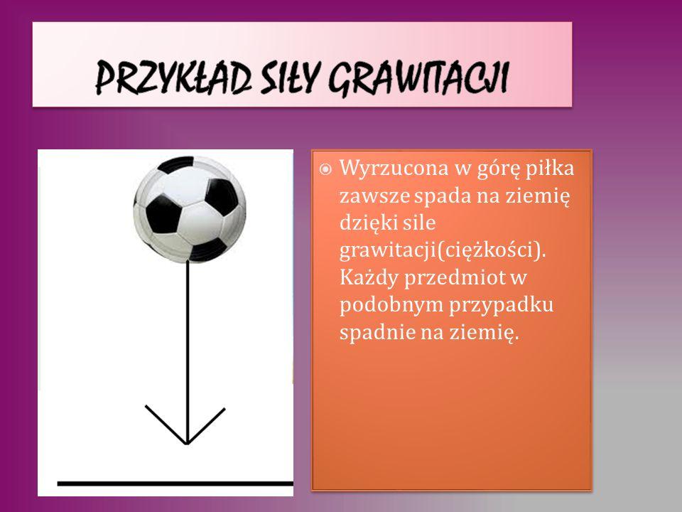 Wyrzucona w górę piłka zawsze spada na ziemię dzięki sile grawitacji(ciężkości). Każdy przedmiot w podobnym przypadku spadnie na ziemię. FcFc
